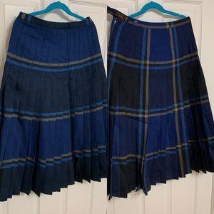 Vintage REVERSIBLE pleated blue wool skirt